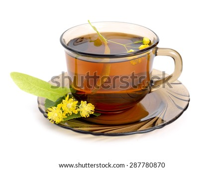 Linden tea with flower. Isolated on white background. - stock photo