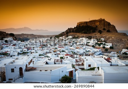 Lindos at sunset, Rhodes, Greece - stock photo