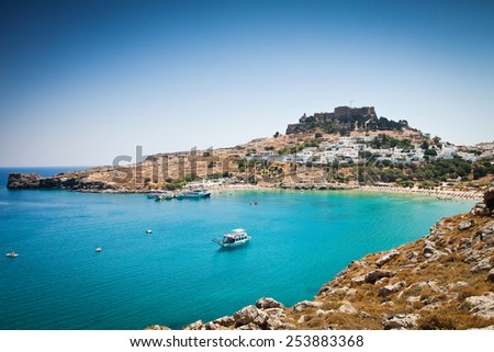 Lindos bay, Rhodes island, Greece - stock photo