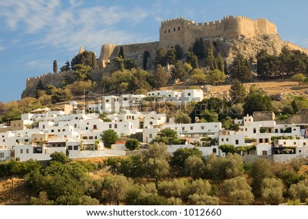 Lindos Castle - Rhodes, Greece - stock photo