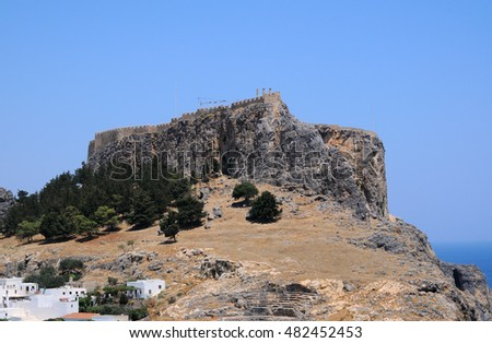 LINDOS, GREECE - AUGUST 11, 2013: Castle with Acropolis on the hill.
