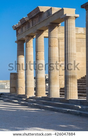 Lindos, Rhodes, Greece - July 28, 2014: Ruins of ancient temple in Lindos, Rhodes