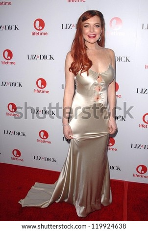 """Lindsay Lohan at the """"Liz and Dick"""" Premiere Private Dinner Event, Beverly Hills Hotel, Beverly Hills, CA 11-20-12 - stock photo"""