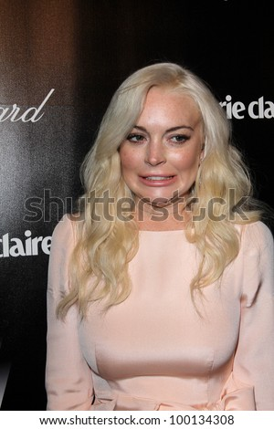 Lindsay Lohan at the Weinstein Company's 2012 Golden Globe After Party, Beverly Hiltron Hotel, Beverly Hills, CA 01-15-12 - stock photo