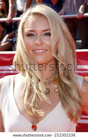 Lindsey Vonn at the 2012 ESPY Awards held at the Nokia Theatre L.A. Live in Los Angeles, United States, 11/07/12.  - stock photo