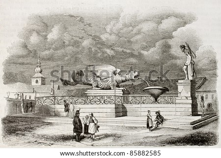 Lindworm fountain old illustration, Klagenfurt, Austria. Created by Girardet, published on Magasin Pittoresque, Paris, 1842 - stock photo