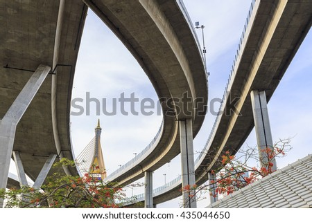 Line and Curve of Bhumiphol Bridge known as Industrial Ring Road Bridge, Bangkok, Thailand