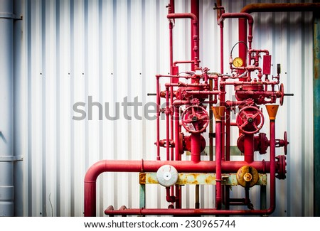 line and valve fire protection - stock photo