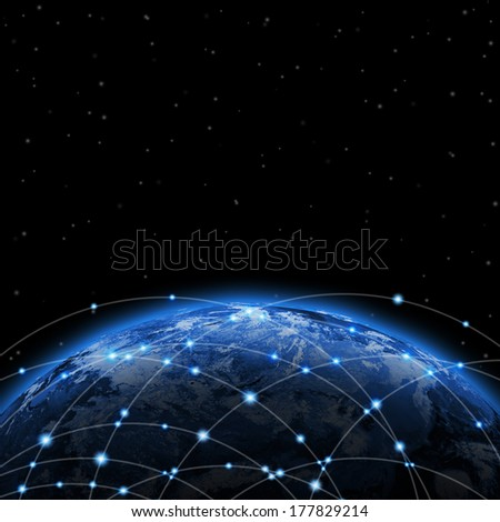 Line around the earth. The concept of globalization - stock photo
