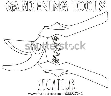 Line Art Black And White Secateur Coloring Book Page For Adults Kids Garden