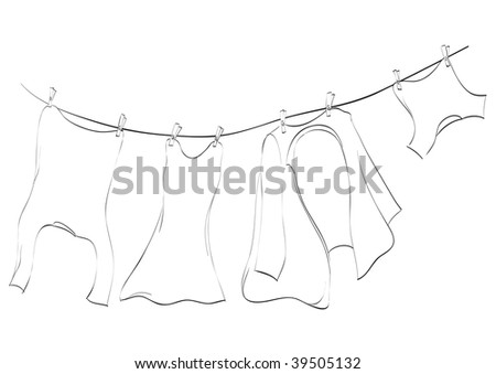 Line art of washing lines with drying clothes, illustration - stock photo