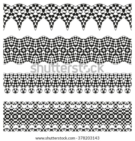 Line border set and scribble design element. Geometric fashion pattern. Trendy style brushes. A set of decorative items to decorate your work, design elements.