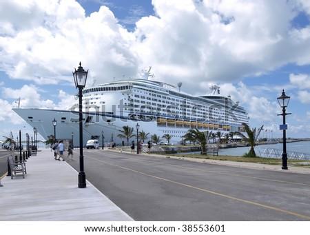line cruise ship docked in Bermuda port - stock photo