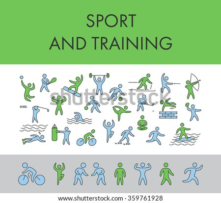 Line design concept horizontal banner for sport and training. Figure athletes, popular sports