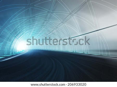 line draw tunnel along speed track with motion blur illustration
