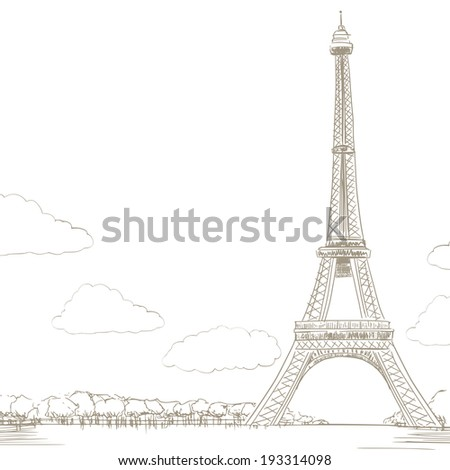 line drawing background illustration of eiffel tower in paris