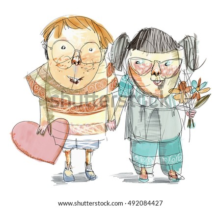 Line drawing color cartoon style illustration of funny little boy and girl holding heart and flowers and holding hands.