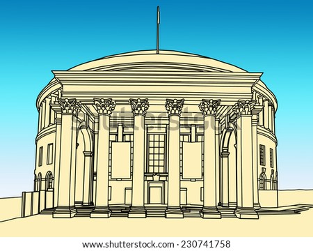 Line drawing of the Central Library building, Manchester, England, UK  - stock photo