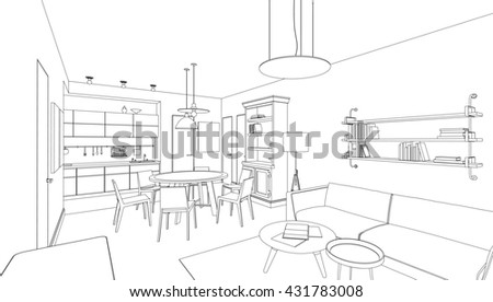 Line drawing of the interior. 3d Raster version - stock photo