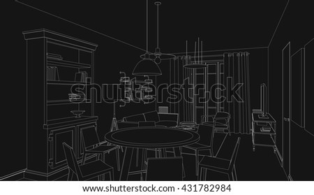 Line drawing of the interior on black background. 3d Raster version - stock photo