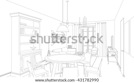 Line drawing of the interior on white background. 3d Raster version - stock photo