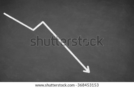 Line graph showing a downward trend. White chalk on blackboard