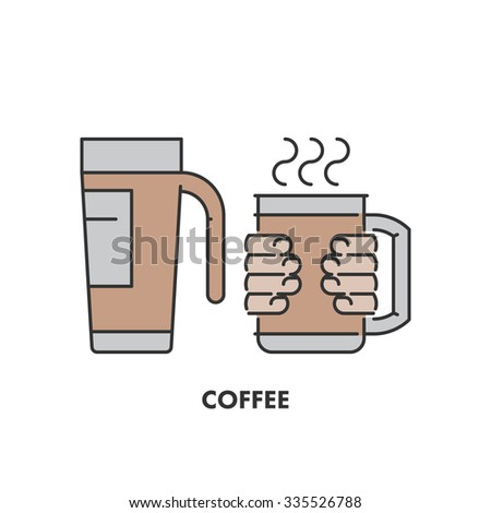 Line icons thermo mug and coffee in color. Linear logo for web and site - stock photo