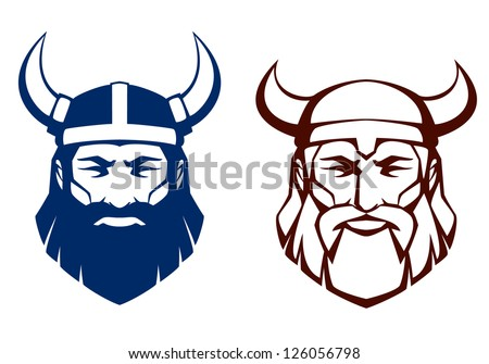 line illustration of an ancient viking warrior, suitable as tattoo or team mascot - stock photo