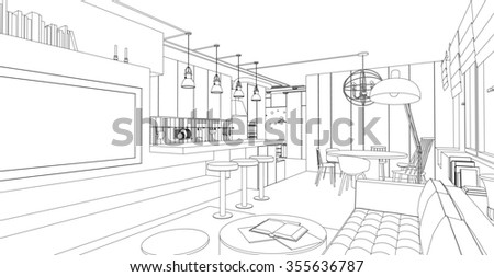 Line interior drawing on white background. Architectural design. Raster version.