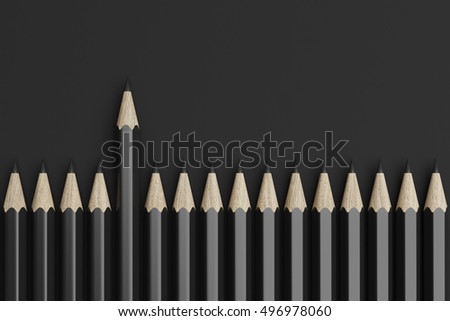 Line made of black pencils with one pencil stand up. Top view. 3d rendering
