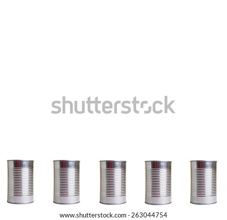 Line of aluminum cans isolated. Room for copy space - stock photo