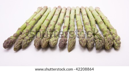 Line of Asparagus spears from low viewpoint with shallow focus isolated against white. - stock photo