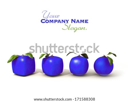 Line of blue citric fruit in different shapes, from cubic to a normal round one - stock photo