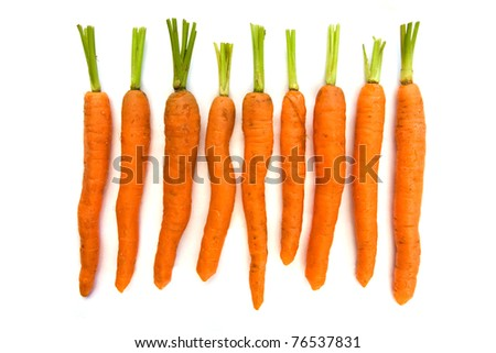 Line of carrots isolated over white - stock photo