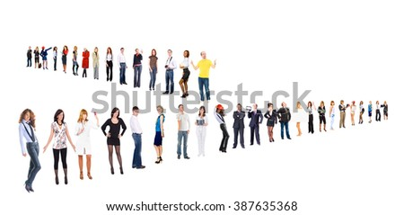 Line of Colleagues Corporate Teamwork  - stock photo
