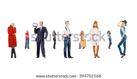 Line of Colleagues People Order  - stock photo