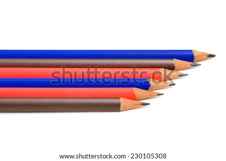 line of colored pencils - stock photo