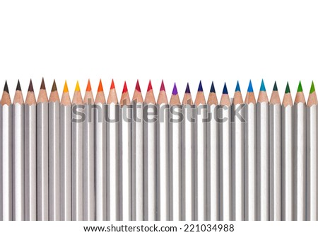 Line of colored pencils, isolated on white background