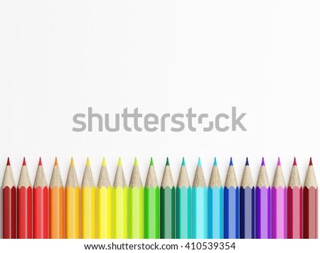 Line of colored pencils over white background. Top view. 3d rendering
