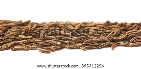 Line of cumin seeds isolated over the white background - stock photo