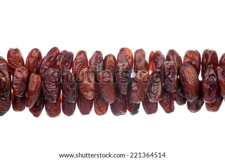 line of  dried  dates, isolated on white background - stock photo