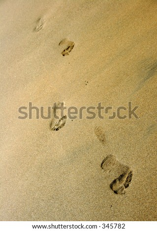 Line of footprints on the beach