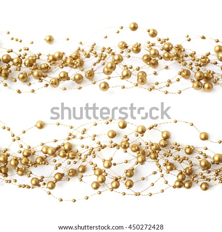 Line of golden beads garland thread isolated over the white background, set of two different foreshortenings