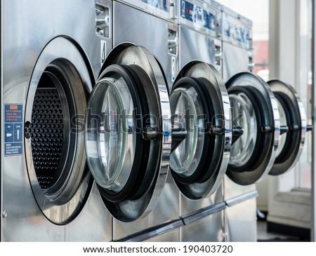 line of laundry machine - stock photo