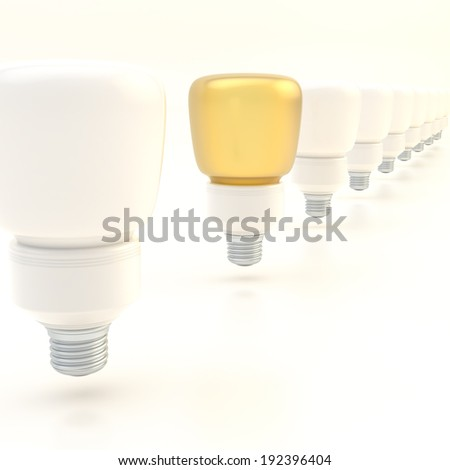 Line of light bulbs over the white surface composition, with the one golden bulb standing out - stock photo