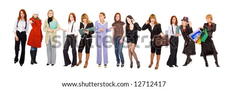 "line of many girls - business and casual dressed - See similar images of this ""Groups of people"" series in my portfolio"