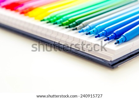 line of multi colored markers