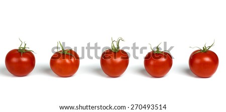 Line of natural organic red cherry grape tomatoes isolated on white - stock photo