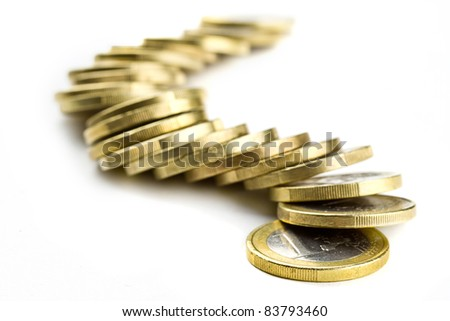 Line of one euro coins over white - stock photo