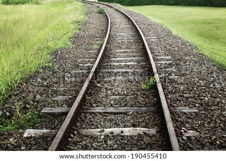 Line of railway crossing in rural of Thailand  - stock photo